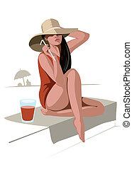 ragazza, bevanda, cappello