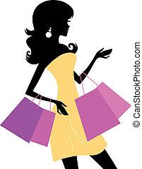 ragazza, bianco, shopping, isolato, retro