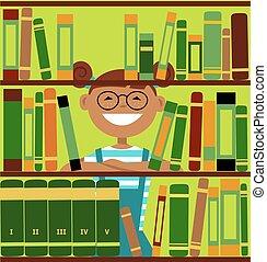 ragazza, biblioteca