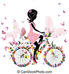 ragazza bicicletta, con, uno, romantico, farfalle