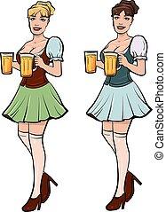 ragazza, birra