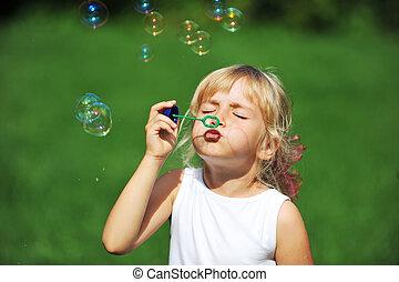 ragazza, bolla, soffiatore