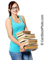 ragazza, books., giovane, tenere vetri