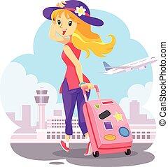 ragazza, borsa, carrello, viaggiare, rosa