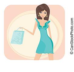 ragazza, borsa, fascino, shopping