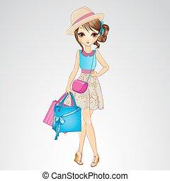 ragazza, borse da spesa, cappello