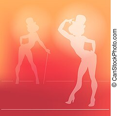 ragazza, cabaret, silhouette, pin-up