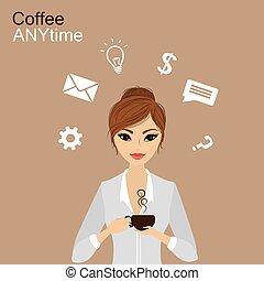 ragazza, caffè, presa a terra, carino, tazza