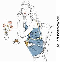 ragazza, caffè, seduta