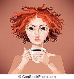 ragazza, caffè, zenzero