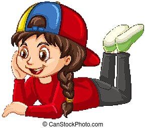 ragazza, camicia, sfondo rosso, isolato