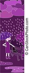 ragazza, camminare, cartone animato, pioggia