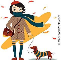 ragazza, camminare, giovane, carino, cane