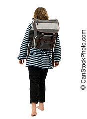 ragazza, camminare scuola