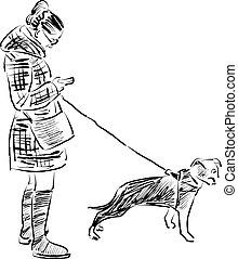 ragazza, cane, lei, schizzo