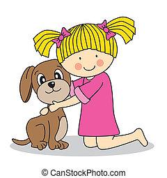 ragazza, cane, lei