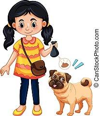 ragazza, cane, poop, pulizia