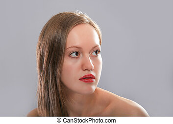 ragazza, capelli, bello, fiera