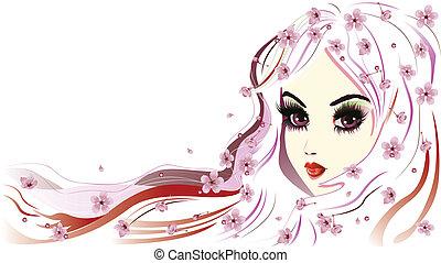 ragazza, capelli, bianco, floreale