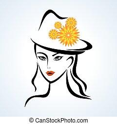 ragazza, cappello, bellezza, faccia
