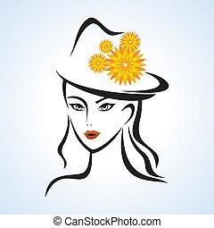 ragazza, cappello, bellezza