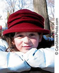 ragazza, cappello, rosso
