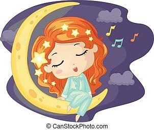 ragazza, capretto, canto, luna