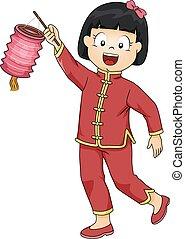 ragazza, capretto, lanterna cinese