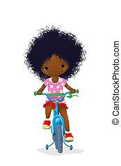 ragazza, carino, bicicletta