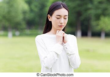 ragazza, carino, preghiera
