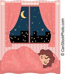 ragazza, carino, sonni