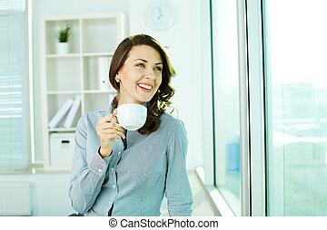 ragazza, carino, tazza