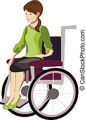 ragazza, carrozzella, donna sedendo