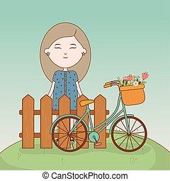 ragazza, cartone animato, bicicletta, standing, fiori, dietro recinto
