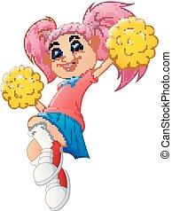 ragazza, cartone animato, cheerleader