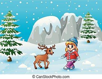 ragazza, cervo, inverno, fondo