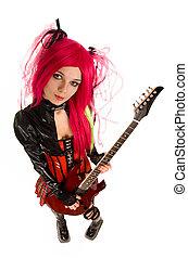 ragazza, chitarra, attraente