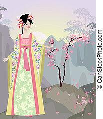 ragazza, cinese, paesaggio