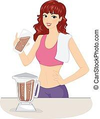 ragazza, cioccolato, scossa proteina