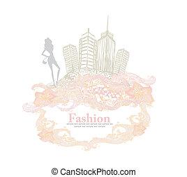ragazza, città, moda, shopping