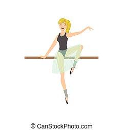ragazza, classe balletto, coda cavallo, polo, ballo, esercitarsi