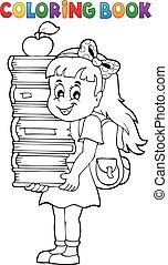 ragazza, colorante riserva, libro, presa a terra
