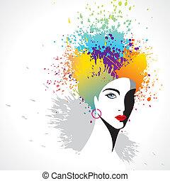ragazza, colorito, capelli, bello