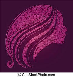 ragazza, con, bello, capelli