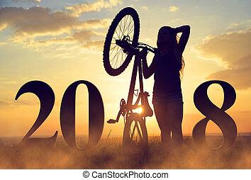 ragazza, con, bicicletta, a, sunset.