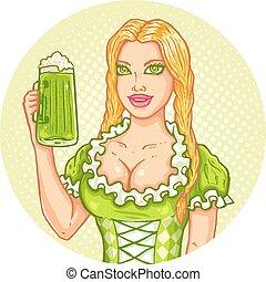 ragazza, con, birra