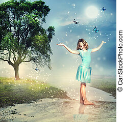 ragazza, con, blu, farfalle, a, uno, magico, ruscello