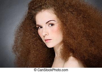 ragazza, con, capelli ricci
