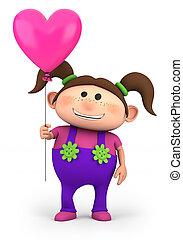 ragazza, con, cuore, balloon