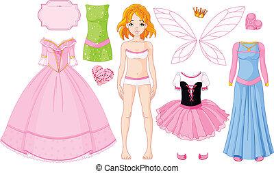 ragazza, con, differente, principessa, dresse